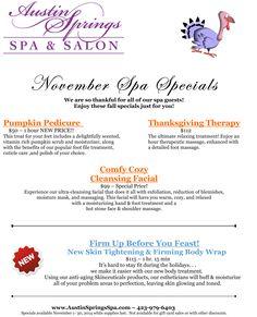 Our November spa specials! Mothers Day Spa, Mothers Day Special, Day Spa Specials, Spa Promo, Massage Marketing, Spa Menu, Esthetician Room, Salon Business, Business Marketing