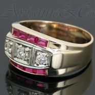 14K Yellow Solid Gold Mens Diamond Ruby Ring 1.70 Ctw