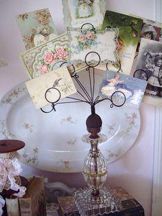 vintage lamp base used as card holder