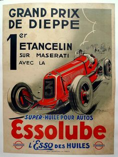 Each poster is guaranteed original and is professionally archival linen mounted. Also available is a fine assortment of vintage auto-related signs and pins. Poster Ads, Car Posters, Advertising Poster, Grand Prix, Maserati, Ferrari, Vintage Advertisements, Vintage Ads, Sport En France