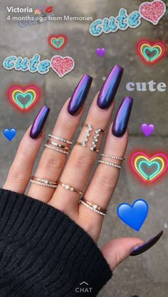 On average, the finger nails grow from 3 to millimeters per month. If it is difficult to change their growth rate, however, it is possible to cheat on their appearance and length through false nails. Purple Acrylic Nails, Purple Nails, Tumblr Acrylic Nails, Holographic Nails Acrylic, Crome Nails, Sexy Nails, Nails On Fleek, Dream Nails, Perfect Nails