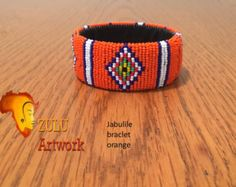 Zulu bead work handcrafted by Zulu women South Africa by ZULUArtwork Zulu Women, Africa, Orange, Beads, Creative, Artwork, Handmade, Crafts, Etsy