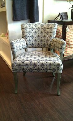 Reupholstered vintage chair using Amy Butler fabric and Benjamin Moore metallic paint. By Harper Eliot Designs.
