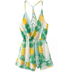 White Pineapple Printed Strappy Romper featuring polyvore fashion clothing jumpsuits rompers dresses playsuit white sexy rompers white overall sexy overalls sexy romper sleeveless romper