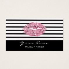 Makeup Artist Black White Stripes Lips Pink Glitte Business Card - metal style gift ideas unique diy personalize
