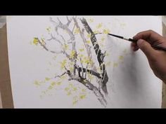 나뭇가지 따라 그리기. Persimmon tree branches/Watercolor - YouTube