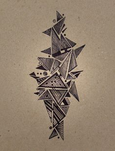 58 Ideas for geometric tree design triangles Geometric Trees, Abstract Geometric Art, Geometric Drawing, Geometric Shapes, Doodle Art Drawing, Mandala Drawing, Pencil Art Drawings, Art Drawings Sketches, Triangle Drawing