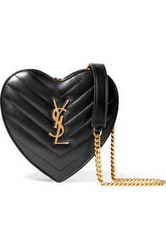 Black leather heart shaped bag