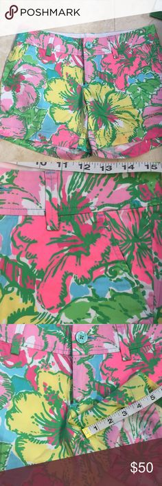 Lilly Pulitzer shorts - size 2 - NWT Up for consideration is a pair of Lilly Pulitzer shorts. They are new with tags. They are Callahan style. The fabric content is 100% cotton. The print is Shorely Blue Big Flirt Small. Measurements are included in the photos. Lilly Pulitzer Shorts