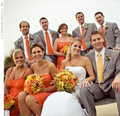 Burnt Orange Wedding With Flowers Pastel Grey