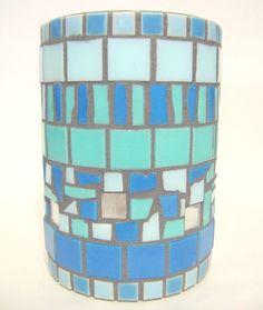 Mosaic Ceramic Tile Glass Vase Blue Shades 6 Inches  #HandMade #Variedgeometricshapedareas