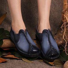 Закрытые кожаные туфли на толстой подошве с ластичными вставками на подъеме