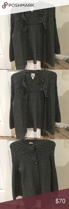 Grey sweater. Buttons . Great embroidery Grey long sweater with buttons. Awesome embroidery. In great condition Joie Sweaters Cardigans