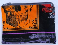 SALE Skulls Zipper Pouch: Skeleton, Halloween.
