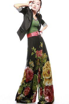 Wide Leg Chiffon Pants Sets | ... wide leg printed flower chiffon dress pants culottes loose pant for