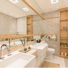 Eu só queria dizer que estou chocada com essa sala de banho! SENHOR 😍👏🏻 | @decoreinteriores ✨ Autoria: Bohrer Arquitetura e Foto por Felipe Lima.