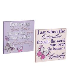 Look what I found on #zulily! Pink & Purple Butterflies Wrapped Canvas Set by Blossoms & Buds #zulilyfinds