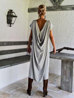 Light Gray Melange Maxi Dress / Gray Kaftan / by SynthiaCouture