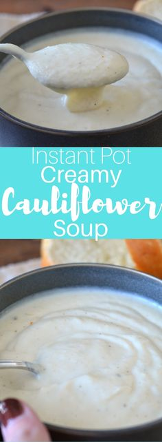 This instant pot creamy cauliflower soup is a great meal to serve your family, especially after a busy day of work, school and extracurriculars. It is the perfect comfort food in what seems like an instant. Cooker Recipes, Soup Recipes, Delicious Recipes, Healthy Recipes, Healthy Foods, Yummy Food, Creamy Cauliflower Soup, Everyday Dishes, Homemade Soup