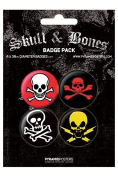 Pyramid International Rozet Seti - Skull & Bones - 38 mm Rozet Seti - BunlardanIstiyorum.com Skull And Bones, Rock Style, Badge, Patches, Poster, Stuff To Buy, Buttons, Rocker Style, Badges