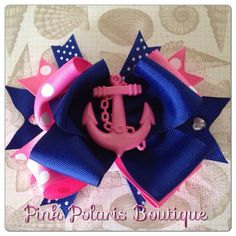Pink Anchor Boutique Bow on Etsy, $9.50