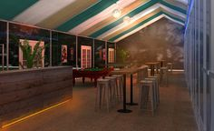 Illustration of an evening party. 80's-90's Rock Club Theme. Lighting & Decor - juke box, and posters, pool tables,