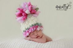 Knitting Pattern Newborn Giant Pom Baby Hat (PDF) For Bulky to Super Bulky Yarns