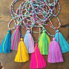 Bright Beach Boho Tassel Necklace by FancyFreebirds on Etsy https://www.etsy.com/listing/268588592/bright-beach-boho-tassel-necklace