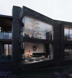 Protruding glass walls in modern black brick building Home Building Design, Home Room Design, Dream Home Design, Modern House Design, House Building, Kitchen Design, Dream House Interior, Luxury Homes Dream Houses, Design Loft