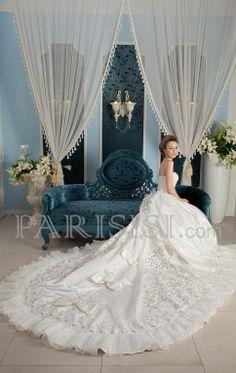vestidos de novia Catedral Tren Drapeado Flors Sin Mangas Sin tirantes Corazón Organza satén BlancoPrecio de Tienda: