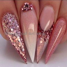 Adorable Rose Gold Ombré nails 2019 – Your Nails – Ombre Nails – Accent Nails Stiletto Nail Art, Cute Acrylic Nails, Acrylic Nail Designs, Nail Art Designs, Nails Design, Coffin Nails, Salon Design, Glam Nails, Bling Nails