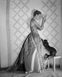 Mary Jane Russell in a Balenciaga Gown Embroidered with Beads, Paris 1951