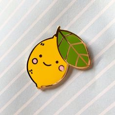 A little lemon friend :) This lemon is about tall and has one post on the back with a yellow rubber backing. The design of this lemon is supposed to be a little tilted, rather than having its little lemon nubs straight up :) Room Posters, Shrinky Dinks, Badge Design, Cute Pins, Pin And Patches, Girls Best Friend, Cute Drawings, My Bags, Pin Collection