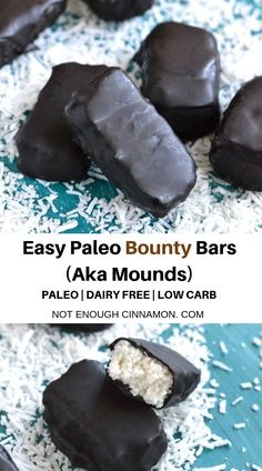 paleo christmas recipes These divine Paleo Bounty Bars (aka mounds) are naturally sweetened and require only a handful of paleo-friendly ingredients! They can easily be made vegan by replacing honey with malt syrup! Paleo Vegan, Paleo Dairy, Paleo Food, Paleo Meals, Diet Recipes, Paleo Snack Recipes, Ketogenic Meals, Primal Recipes, Diet Tips