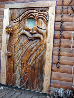 Carved Door In Ester, Alaska - US