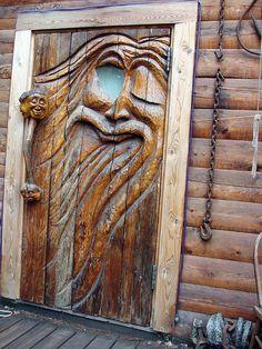 Carved Door In Ester, Alaska - US