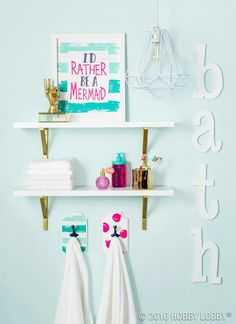Add A Splash Of Color To Your Everyday Bathroom Decor! Add Our Mermaid  Shower Curtain To This Cute Bathroom!