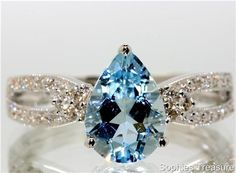 Genuine Aquamarine and Diamond 18k White Gold Ring - Sophies Treasure http://www.iwedplanner.com/user/wedding-womenrings.aspx