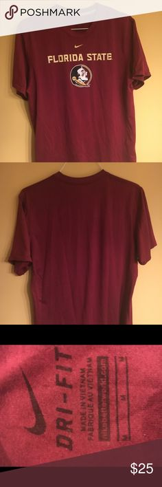 Nike Florida State Workout Shirt A Garnet stretchy tee with the FSU logo across the chest. Nike Shirts Tees - Short Sleeve