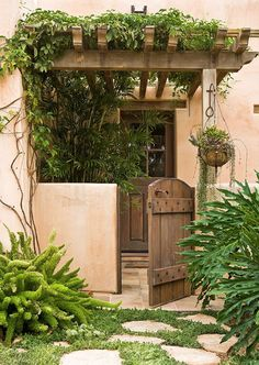 Rustic view with succulents. Like the wood gate in place of our existing gates. I like the handle idea as well with a lock. Pergola is nice. I like the lighter, worn-out look stain on the wood.