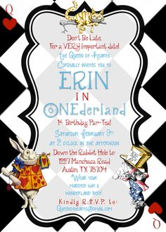Alice in Wonderland Black & White checkered Queen of Hearts Birthday Tea Party Invitation for boy or girl- Digital Printable File