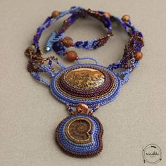 Bead Embroidered Freeform Necklace with Jasper and Amonite