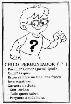 Sinais De Pontuação Para Crianças Portuguese Language, Learn Portuguese, Activities, Education, Comics, Learning, Fictional Characters, Celebrities, Abc Centers