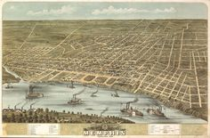 "1870 Memphis, Tennessee, Map, Art, antique decor, Mississippi River, 20""x14"""
