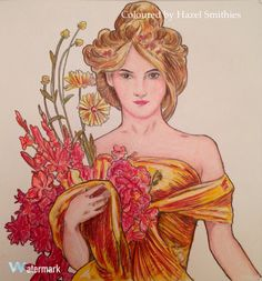 From Alphonse Mucha: Make Your Own Art Masterpiece by David Jones and Daisy Seal. In Prismacolor Premier Pencils @flametreepublishing #alphonsemuchacolouringbook #makeyourownartmasterpiece