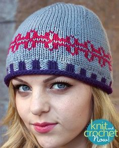 Free Kristin's Hat pattern download Design by KCN Design Team Featured in Season 6, Episode 2, of Knit and Crochet Now! TV.