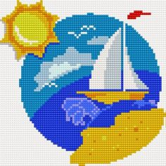 free cross stitch patterns in pdf format with landscape of summer Cross Stitch Sea, Simple Cross Stitch, Modern Cross Stitch, Cross Stitch Charts, Cross Stitch Designs, Cross Stitch Pattern Maker, Cross Stitch Patterns, Fuse Bead Patterns, Perler Patterns