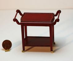 2 Tier Rolling Serving Trolley in Mahogany