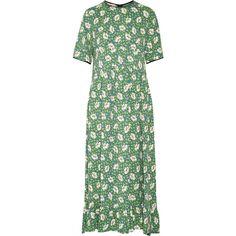 Marni Floral-print crepe dress ($2,440) ❤ liked on Polyvore featuring dresses, leaf green, leaf dress, floral print midi dress, frill hem midi dress, crepe dress and floral printed dress