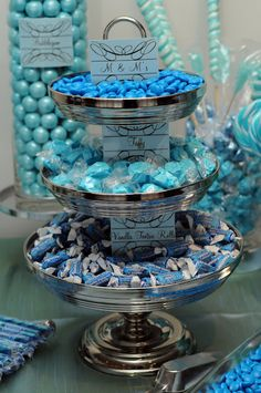 Setting the Mood: blue candy buffet Blue Candy Bars, Blue Candy Buffet, Purple Candy, Candy Table, Candy Buffet Tables, Buffet Dessert, My Dessert, Dessert Tables, Tiffany Party